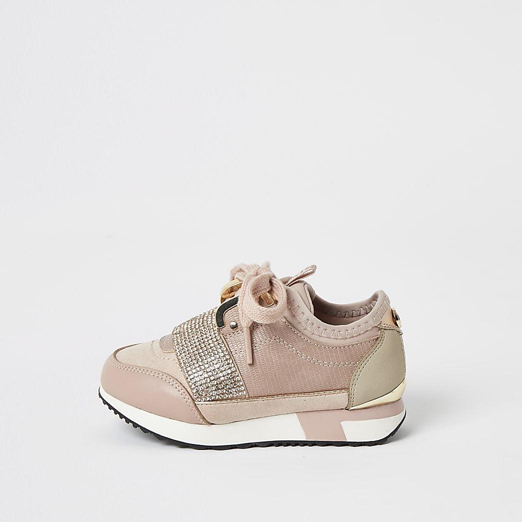 Mini - Roze elastische sneakers met siersteentjes voor meisjes