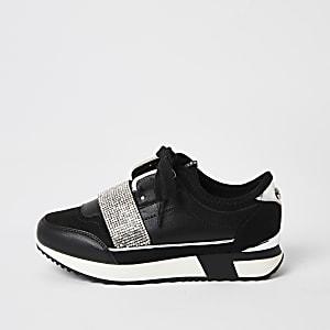 Zwarte elastrische sneakers met siersteentjes voor meisjes