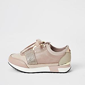 Baskets de course roses avec bandeà strass pour fille