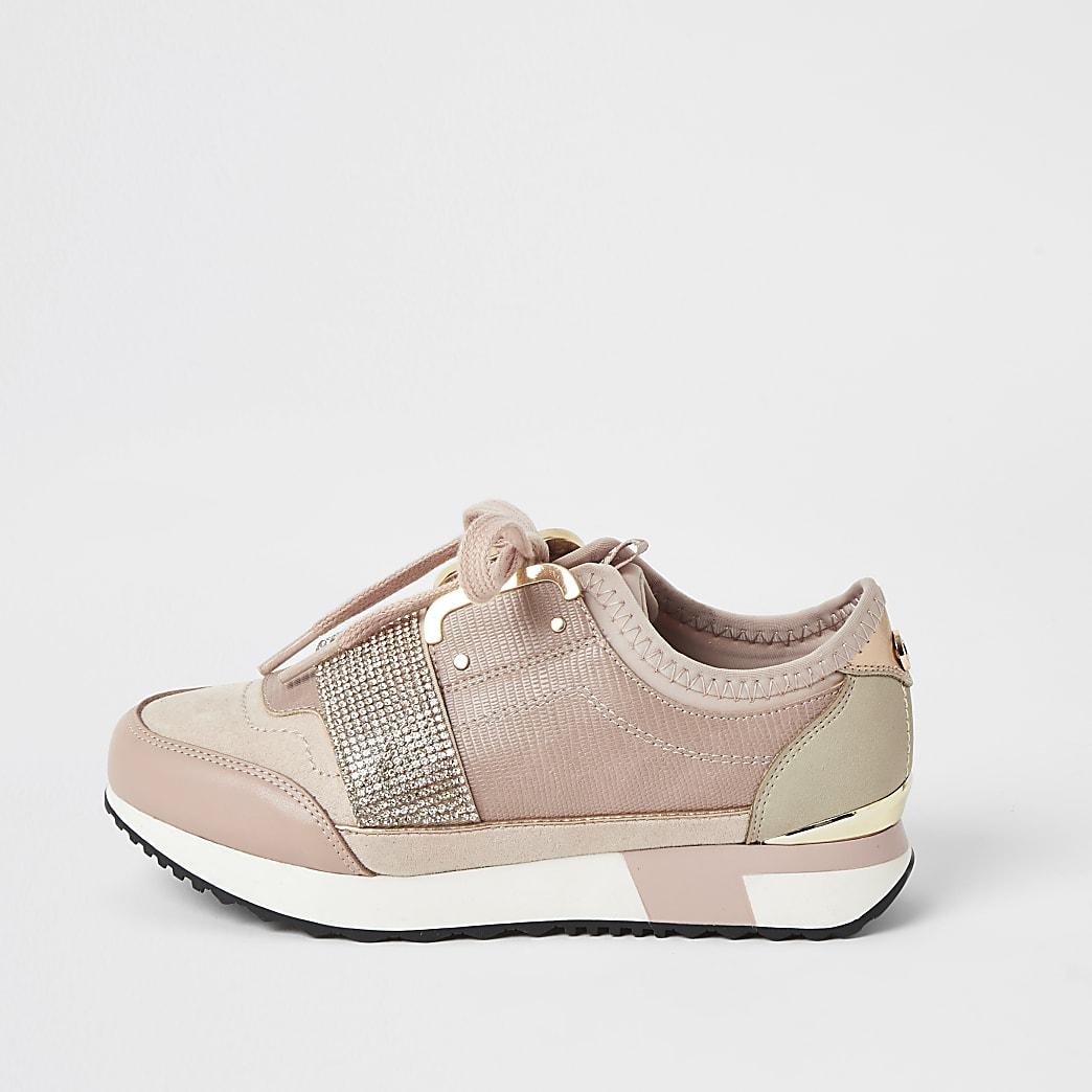 Girls pink diamante strap runner trainers