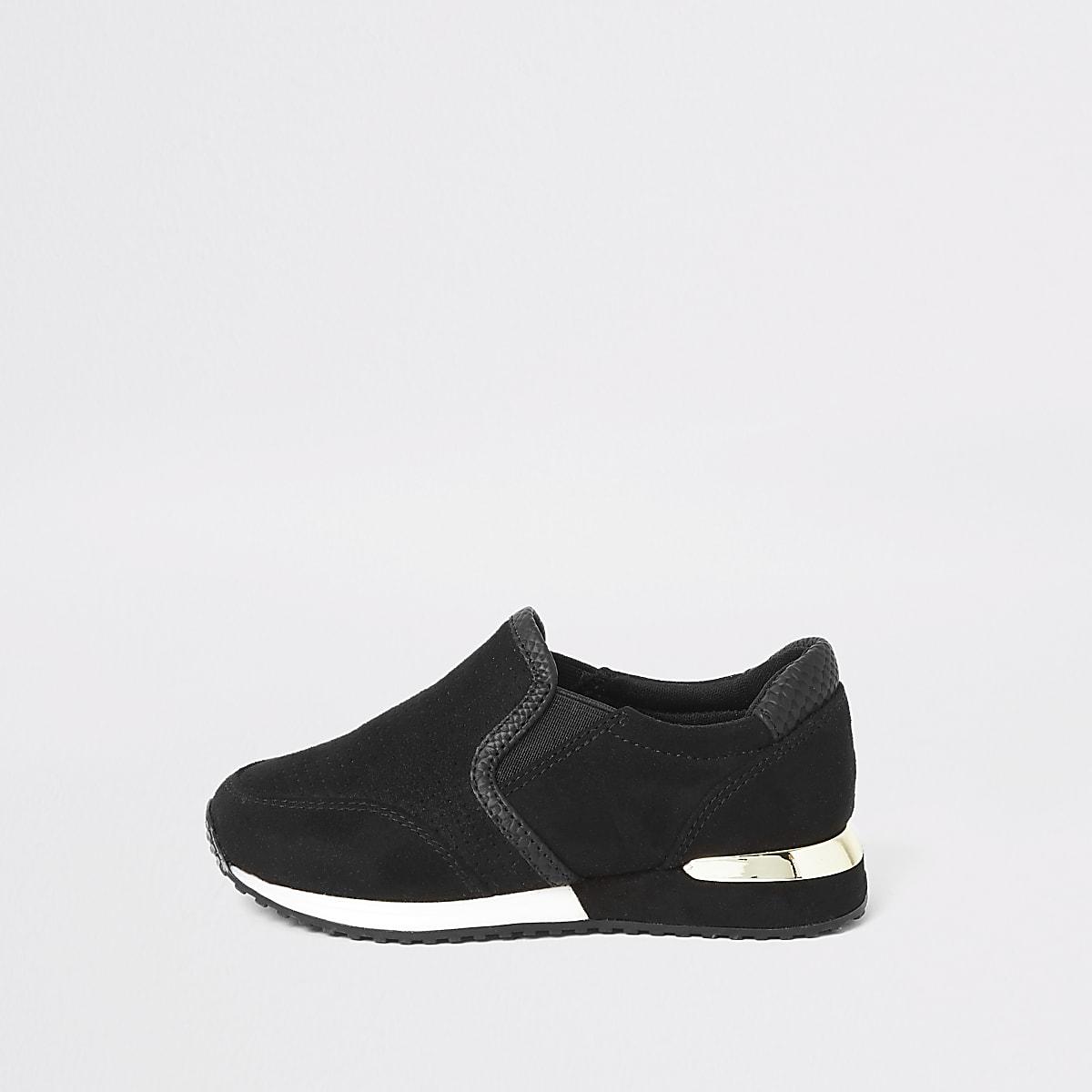 Mini - Zwarte hardloopschoenen met perforaties voor meisjes