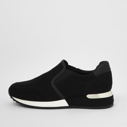 Girls black perforated runner trainers