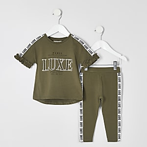 "Mini – Outfit mit T-Shirt in Khaki mit ""Luxe""-Tape"