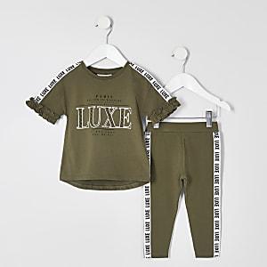 Mini - Outfit met kaki T-shirt met 'Luxe'-tape voor meisjes