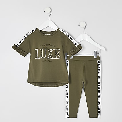 Mini girls khaki 'Luxe' tape T-shirt outfit