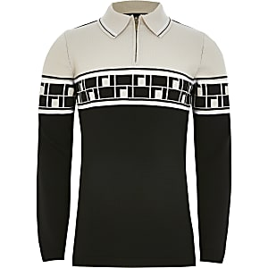 Beiges Strick-Poloshirt mit RI-Monogramm für Jungen