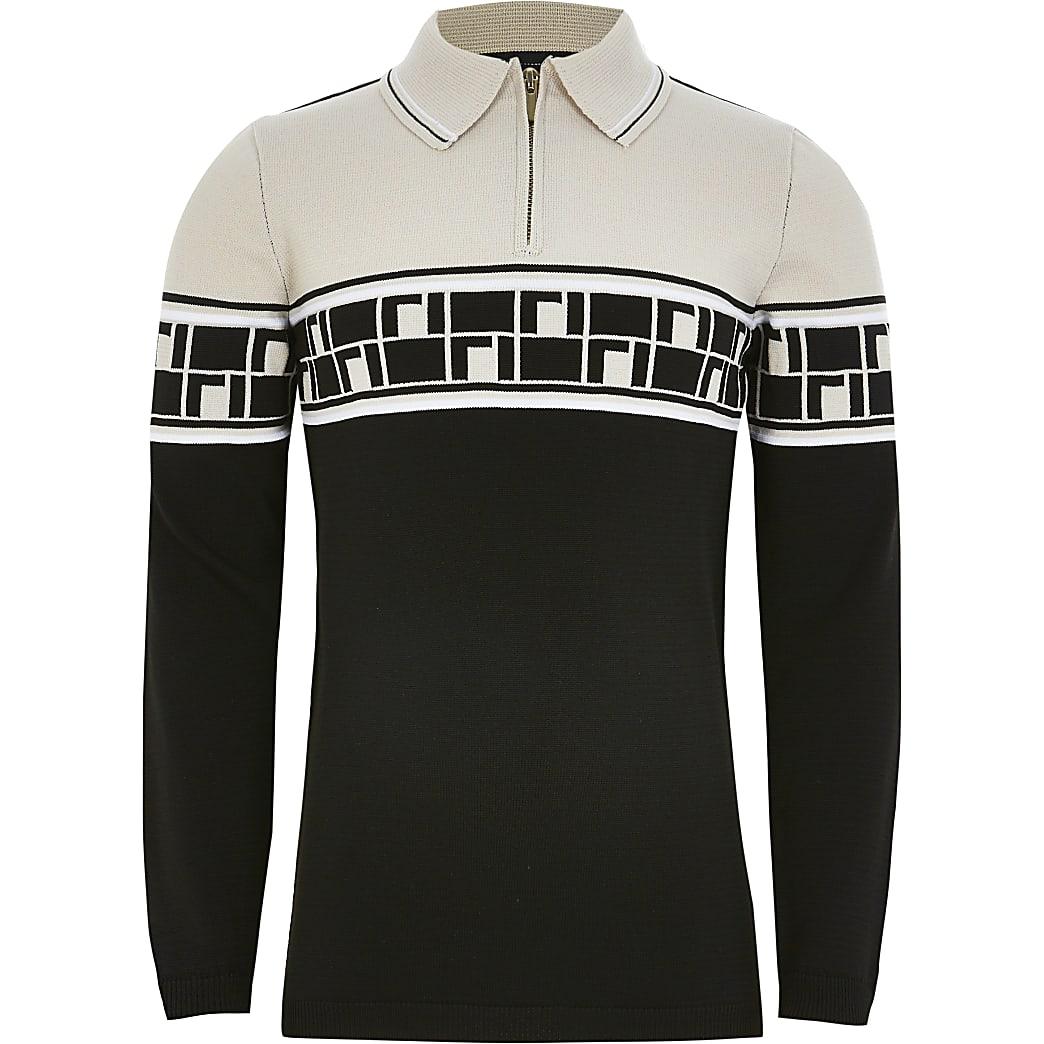 Boys beige RI monogram knitted polo shirt