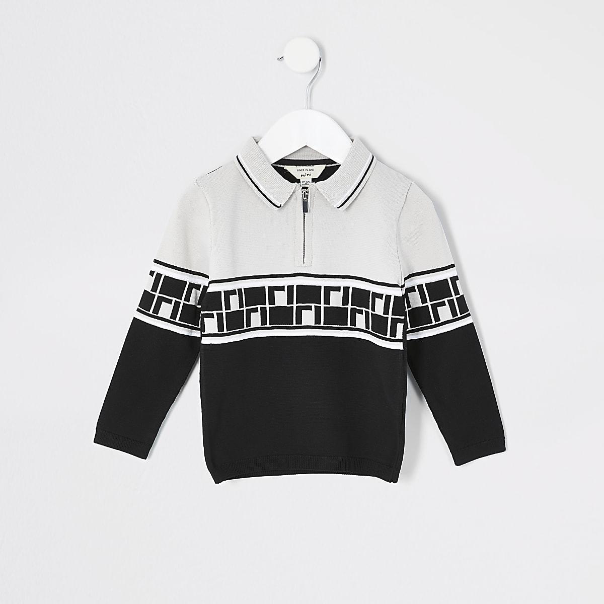 Mini boys beige RI monogram knit polo shirt
