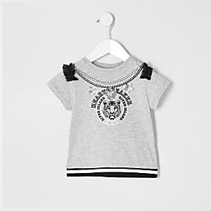 "Mini– Graues T-Shirt""Heartbreaker"" für Mädchen"