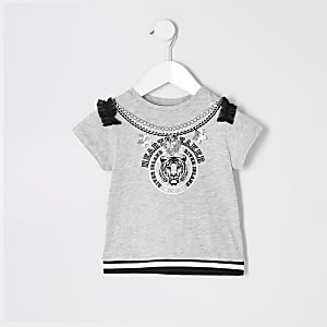 T-shirt gris « heartbreaker » Mini fille