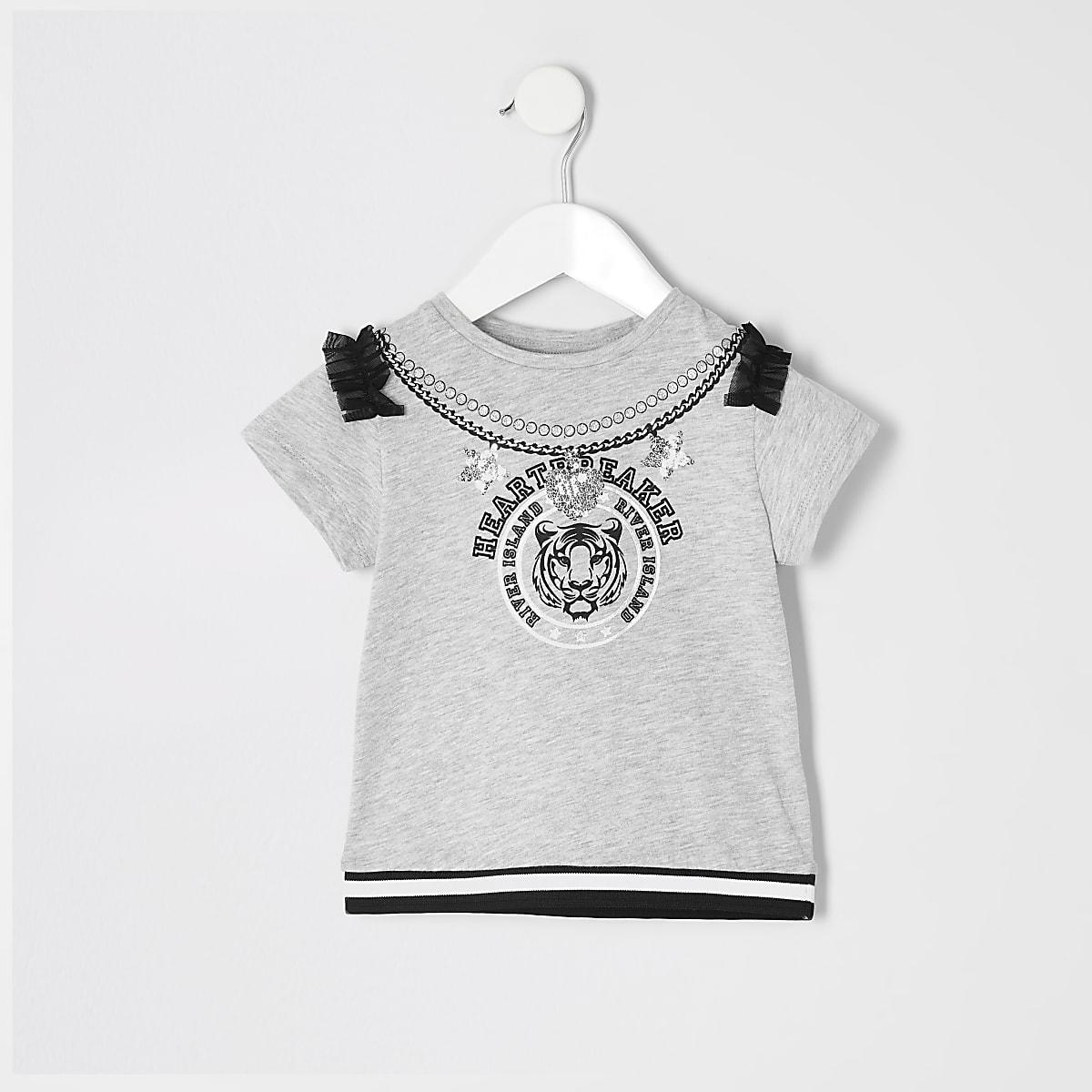 Mini - Grijs T-shirt met 'heartbreaker'-tekst voor meisjes