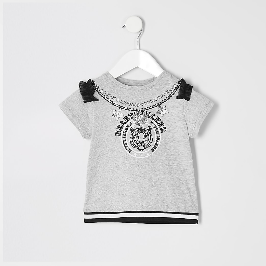 Mini girls grey 'heartbreaker' T-shirt