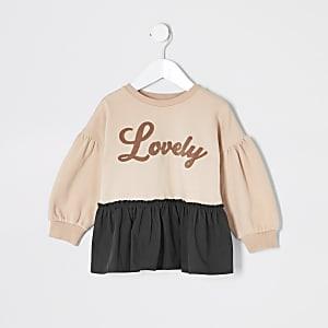 """Sweatshirt """"Lovely"""" mit Schößchen für kleine Mädchen in Pink"""