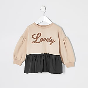 "Sweatshirt péplum ""Lovely"" rose mini fille"