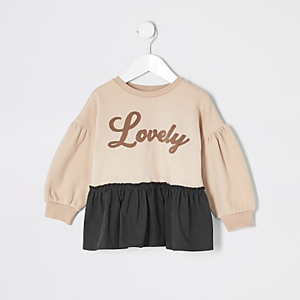 Mini girls pink 'Lovely' peplum sweatshirt