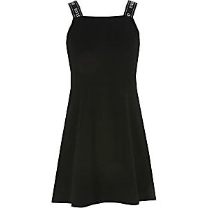 Girls black RI strap skater dress