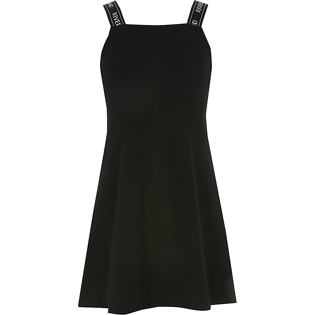 Girls black RI strap skater dress
