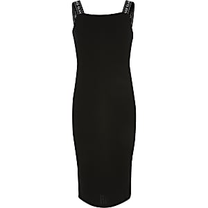 Girls black RI strap rib knitted midi dress