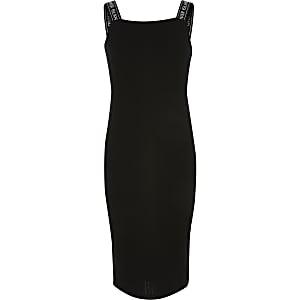 Zwarte gebreide midi-jurk met RI-monogram op de straps voor meisjes