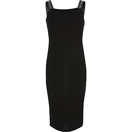 Girls black RI strap rib knitted midi dress