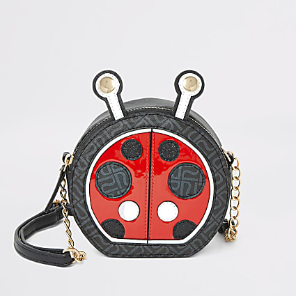 Girls black ladybird cross body bag