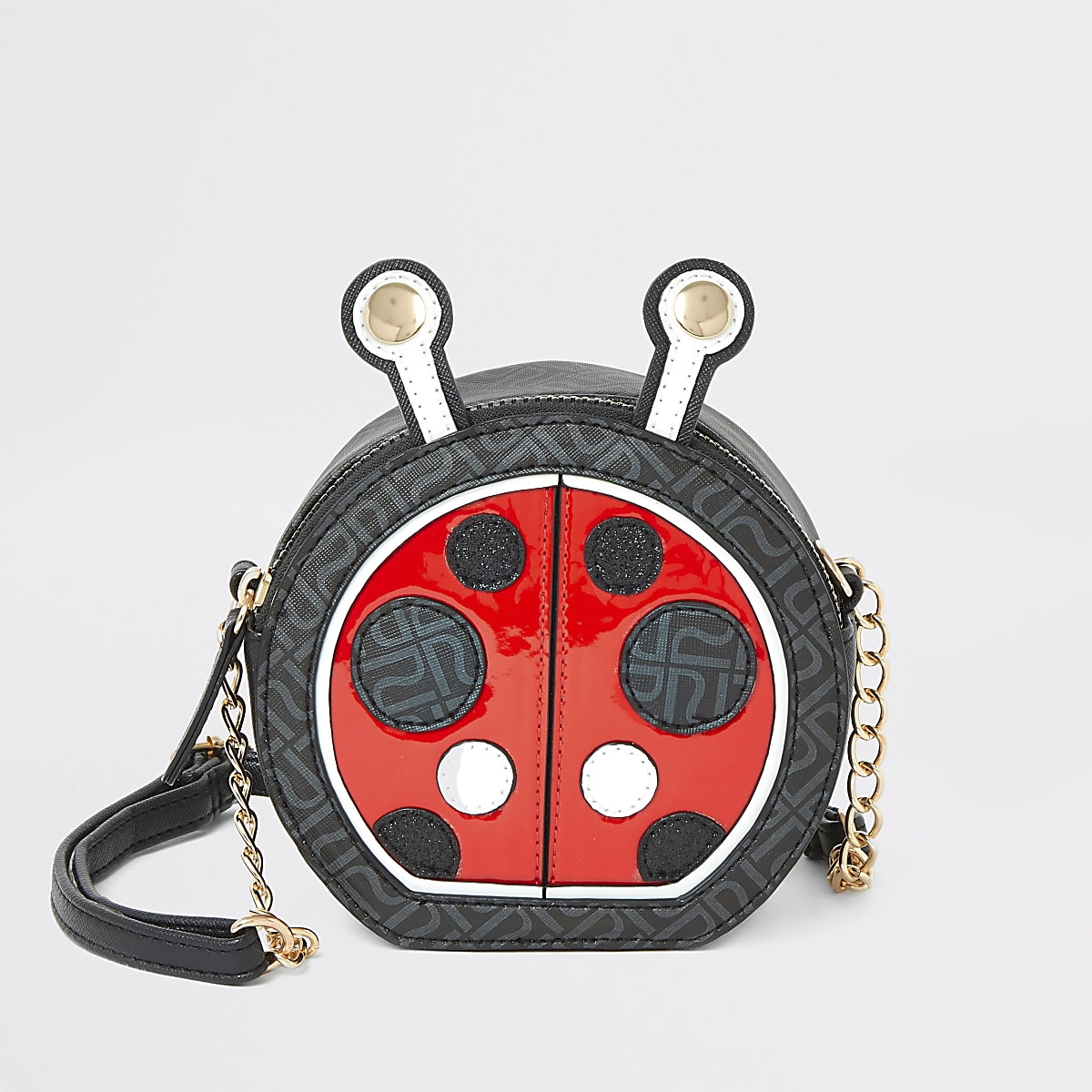 Girls black ladybird cross body bag
