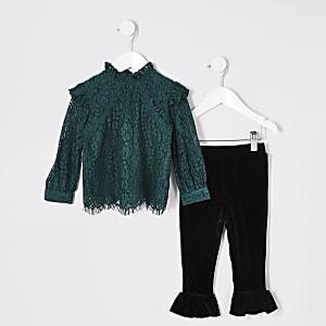 Mini - Groene top outfit met kant en ruches