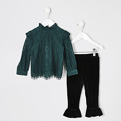 Mini girls green lace frill top outfit