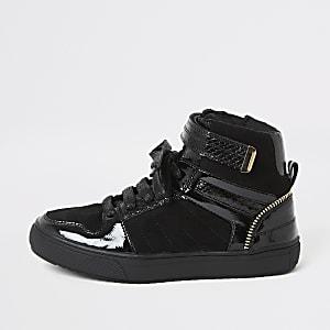 Zwarte hoge sneakers met vetersluiting voor jongens