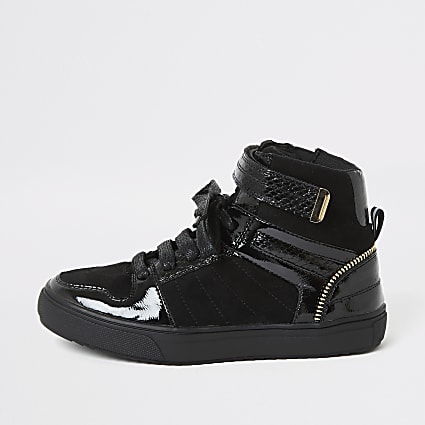 Boys black lace-up high top trainers