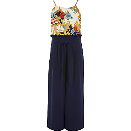 Girls navy scarf print belted jumpsuit