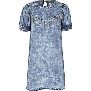 Blauwe washed denim jurk met kwastjes met siersteentjes voor meisjes