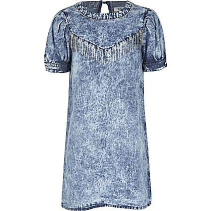Girls blue washed diamante tassel denim dress