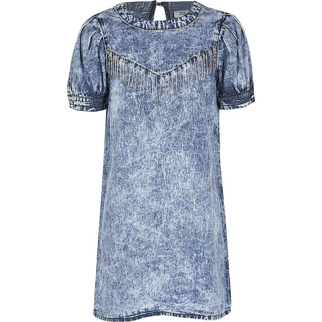 Girls blue washed diamante tassel denim dress