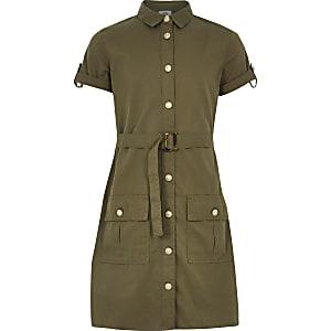 Utility-Blusenkleid in Khaki mit Gürtel für Mädchen