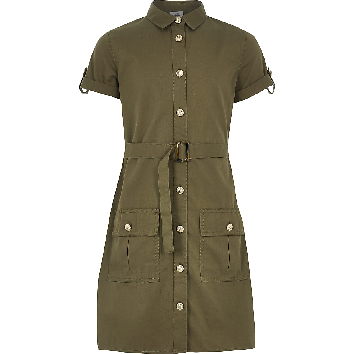 Girls khaki belted utility shirt dress