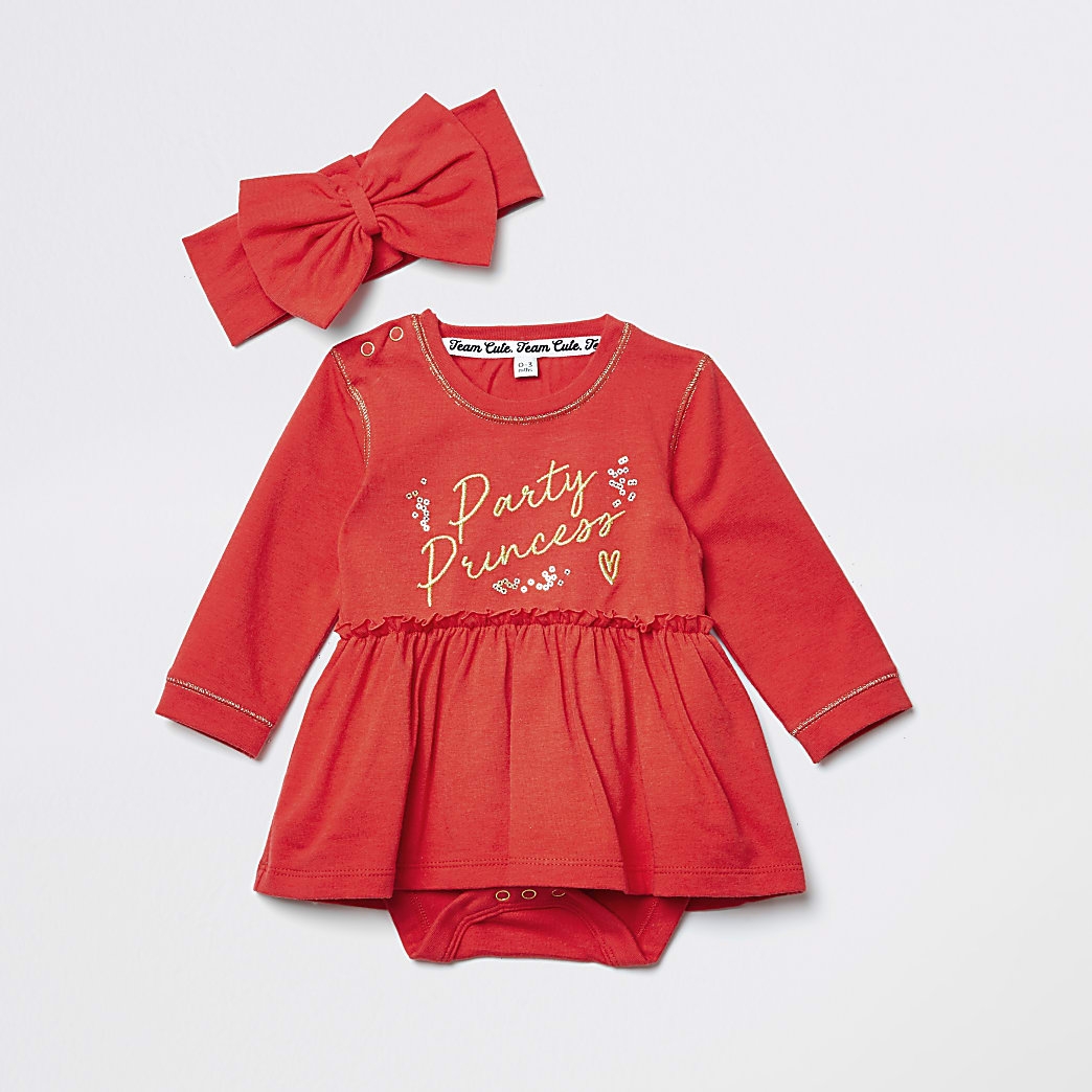 Baby red printed baby grow dress