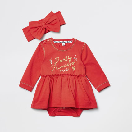 Mini girls red 'Party princess' romper dress