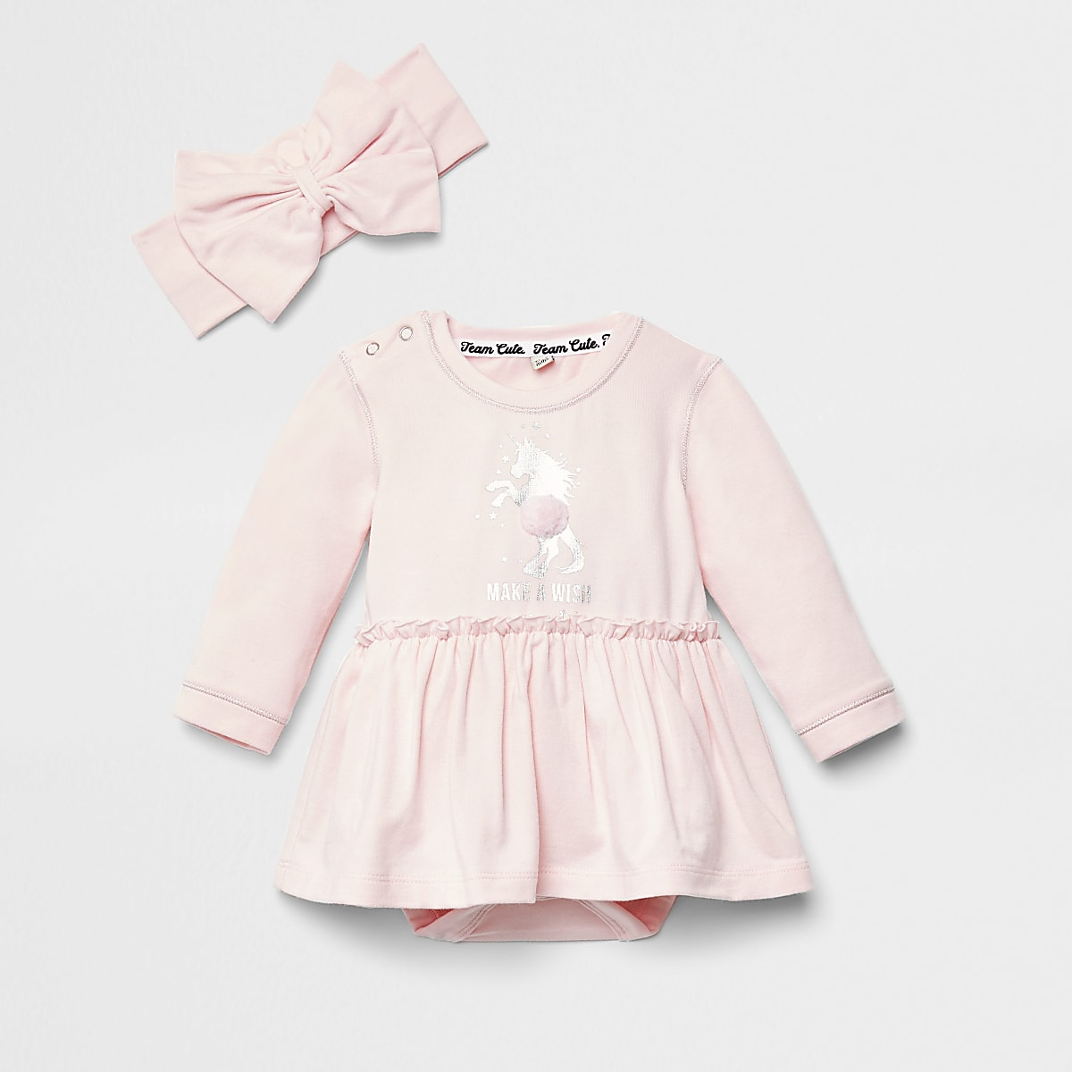 Baby pink unicorn print romper dress