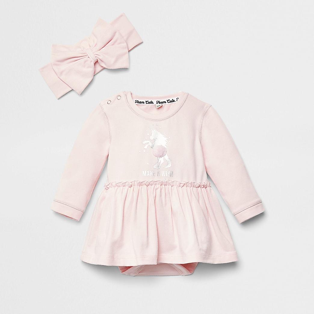 Baby pink unicorn print romper dress