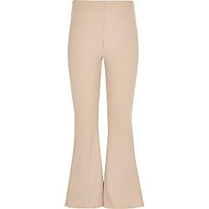 Pantalon côtelé évasé beige pour fille