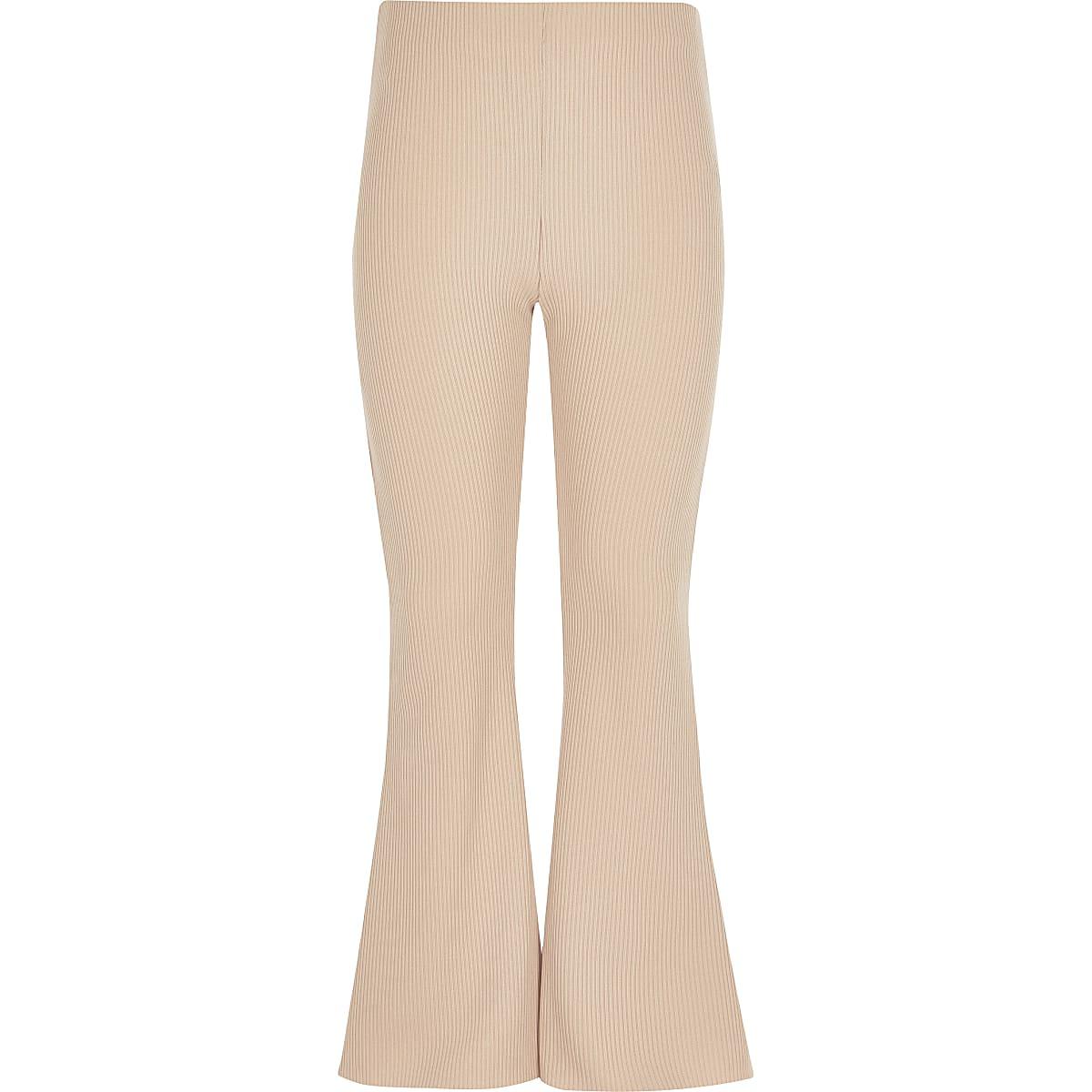 Beige geribbelde broek met uitlopende pijpen voor meisjes
