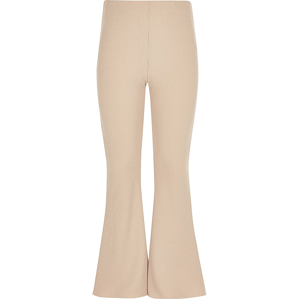 Girls beige ribbed flared trousers
