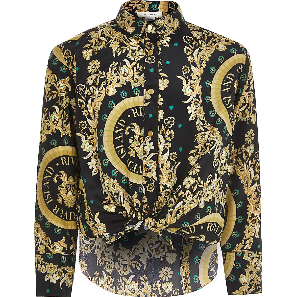 Zwart overhemd met lange mouwen en barokprint voor meisjes