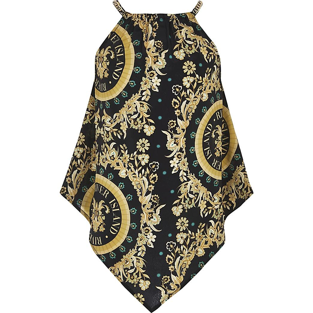 Girls black baroque chain cami top