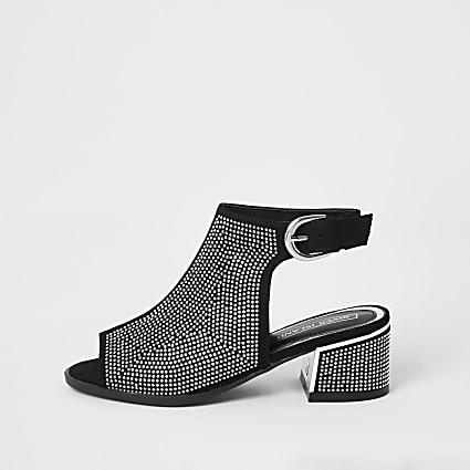Girls black diamante open toe heeled boots