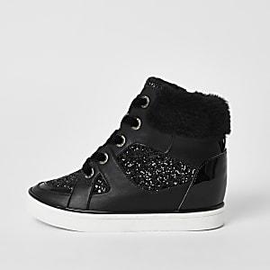 Zwarte hoge sneakers met glitters en vetersluiting voor meisjes