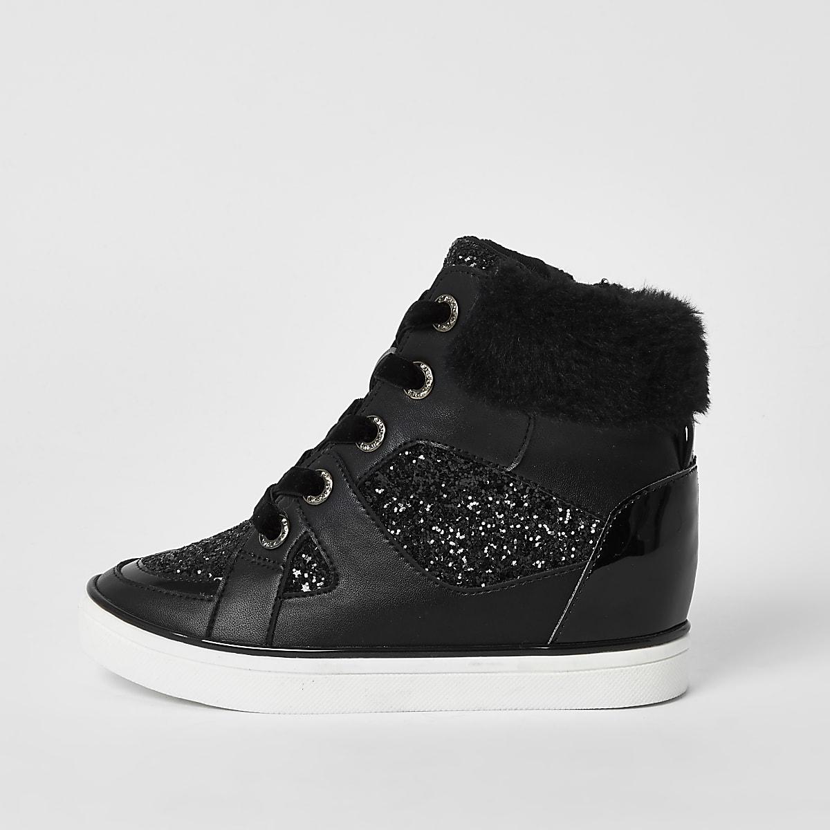 Girls black glitter lace-up hi top trainers