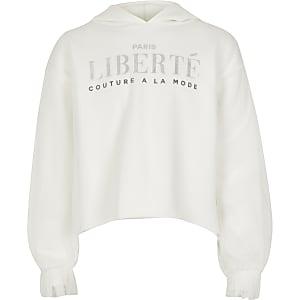 """Weißer Hoodie""""Liberte"""" mit Mesh-Einsatz für Mädchen"""