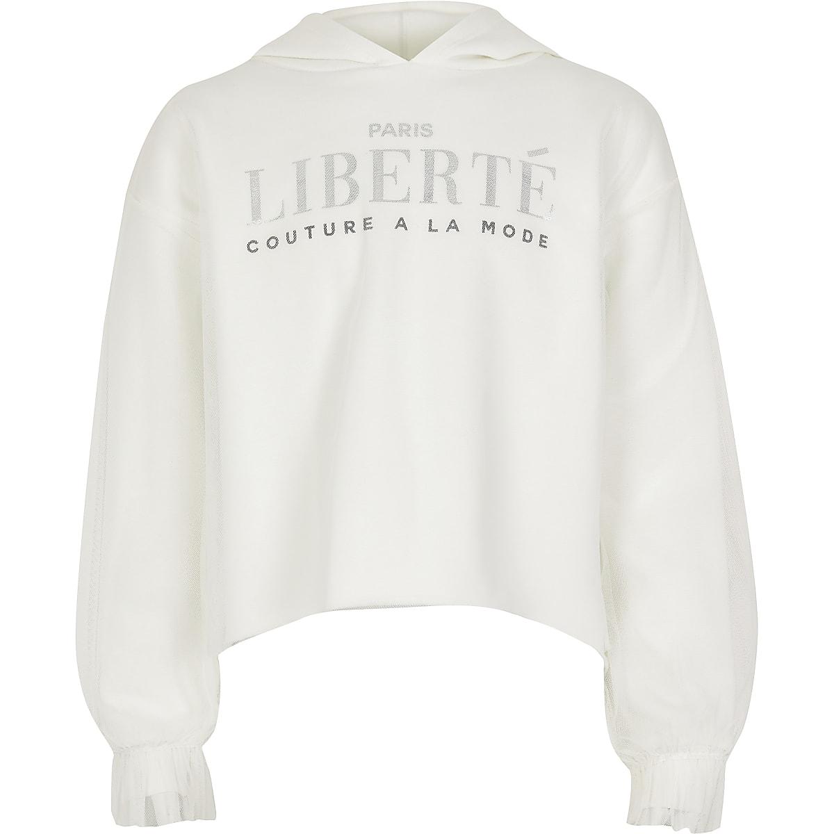 Witte 'liberte' meshhoodie voor meisjes